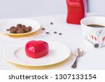 mousse dessert in the shape of... | Shutterstock . vector #1307133154