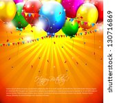 flying colorful balloons on... | Shutterstock .eps vector #130716869