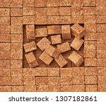 brown sugar cubes  texture... | Shutterstock . vector #1307182861