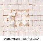 white sugar cubes  texture... | Shutterstock . vector #1307182864