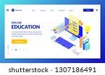 online computer quiz. landing...   Shutterstock .eps vector #1307186491
