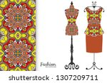 vector fashion illustration.... | Shutterstock .eps vector #1307209711