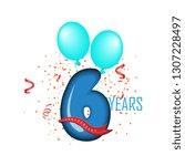 6 years anniversary vector... | Shutterstock .eps vector #1307228497