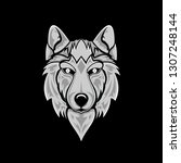 wolf face grayscale   Shutterstock .eps vector #1307248144