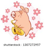 vector illustration of a cute... | Shutterstock .eps vector #1307272957