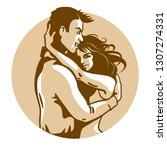 happy hugging people couple in... | Shutterstock .eps vector #1307274331