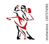 tango dancing couple man and... | Shutterstock .eps vector #1307276581