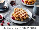 breakfast belgian waffles with...   Shutterstock . vector #1307310844
