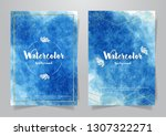set blue watercolour.can use... | Shutterstock .eps vector #1307322271