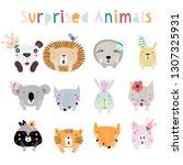 llama  lion  tiger  wolf  panda ... | Shutterstock .eps vector #1307325931