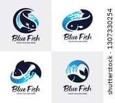 blue fish logo set design... | Shutterstock .eps vector #1307330254