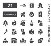 flammable icon set. collection... | Shutterstock .eps vector #1307341624
