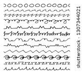 set of pattern brushes hand... | Shutterstock .eps vector #1307344021