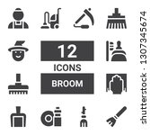 broom icon set. collection of... | Shutterstock .eps vector #1307345674