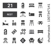 rest icon set. collection of 21 ... | Shutterstock .eps vector #1307347141
