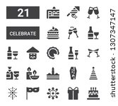 celebrate icon set. collection... | Shutterstock .eps vector #1307347147