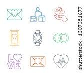 9 heart icons. trendy heart... | Shutterstock .eps vector #1307351677