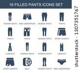 pants icons. trendy 16 pants... | Shutterstock .eps vector #1307351767