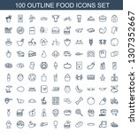 100 food icons. trendy food... | Shutterstock .eps vector #1307352667