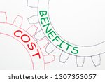 costs and benefits text on the...   Shutterstock . vector #1307353057