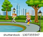 cartoon children playing in the ... | Shutterstock .eps vector #1307355547