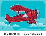 vector vintage airplane... | Shutterstock .eps vector #1307361181