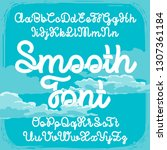 smooth font with blue clouds... | Shutterstock .eps vector #1307361184