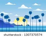 summer sunny tropical... | Shutterstock .eps vector #1307370574