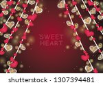 hanging red heart with party... | Shutterstock .eps vector #1307394481