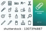 office stationary icons set.... | Shutterstock .eps vector #1307396887