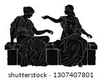 two ancient greek women in... | Shutterstock .eps vector #1307407801