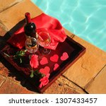red poolside valentine's day...   Shutterstock . vector #1307433457