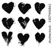 doodle heart shapes set.... | Shutterstock .eps vector #1307446861