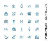 editable 25 residential icons... | Shutterstock .eps vector #1307462671