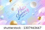 hello spring banner. trendy... | Shutterstock .eps vector #1307463667