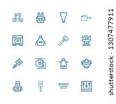 editable 16 kitchenware icons... | Shutterstock .eps vector #1307477911