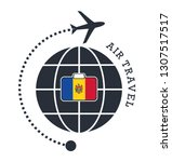 moldova air travel. vector... | Shutterstock .eps vector #1307517517
