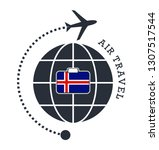 iceland air travel. vector... | Shutterstock .eps vector #1307517544