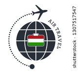 hungary air travel. vector... | Shutterstock .eps vector #1307517547