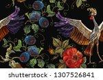 embroidery crane birds  vine... | Shutterstock .eps vector #1307526841
