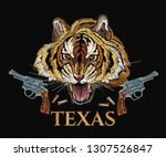 wild west embroidery tiger head ... | Shutterstock .eps vector #1307526847