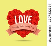happy valentine's day red rose...   Shutterstock .eps vector #1307532334