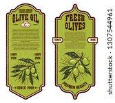 set of vintage olive oil flyer... | Shutterstock .eps vector #1307544961