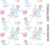 seamless pattern of watercolor ... | Shutterstock . vector #1307555011