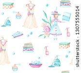 seamless pattern of watercolor ... | Shutterstock . vector #1307555014