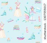 seamless pattern of watercolor ... | Shutterstock . vector #1307555017