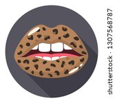 vector fashion sexy female lips ... | Shutterstock .eps vector #1307568787