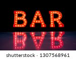 the reflection of red bar... | Shutterstock . vector #1307568961