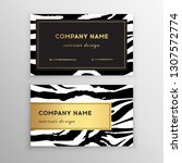business card trendy zebra and... | Shutterstock .eps vector #1307572774