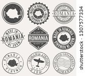 romania set of stamps. travel... | Shutterstock .eps vector #1307577334